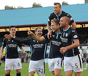 Greg Stewart is congratulated after scoring Dundee's opener by Thomas Konrad, Martin Boyle, Iain Davidson and James McPake - Dundee v Raith Rovers, Scottish League Cup at Dens Park<br /> <br />  - &copy; David Young - www.davidyoungphoto.co.uk - email: davidyoungphoto@gmail.com
