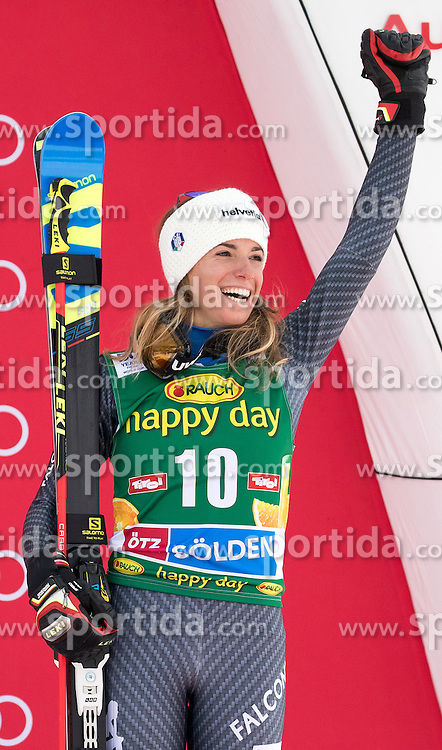 22.10.2016, Rettenbachferner, Soelden, AUT, FIS Weltcup Ski Alpin, Soelden, Siegerpräsentation, im Bild Marta Bassino (ITA, 3. Platz) // third placed Marta Bassino of Italy during the award ceremony for the ladies Giant Slalom of Soelden FIS Ski Alpine World Cup at the Rettenbachferner in Soelden, Austria on 2016/10/22. EXPA Pictures © 2016, PhotoCredit: EXPA/ Johann Groder