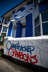 Brighton house painted in club colours in the city, Championship champions painted on wall, despite finishing second in the league - Mandatory by-line: Jason Brown/JMP - 14/05/17 - FOOTBALL - Brighton and Hove Albion, Sky Bet Championship 2017 - Brighton and Hove Albion Promotion Parad