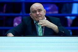 Warsaw, Poland - 2017 April 20: Marjan Fabjan coach of Adrian Gomboc from Slovenia looks forward while the men&iacute;s 66kg semifinal during European Judo Championships 2017 at Torwar Hall on April 20, 2017 in Warsaw, Poland.<br /> <br /> Mandatory credit:<br /> Photo by &copy; Adam Nurkiewicz / Mediasport / Sportida<br /> <br /> Adam Nurkiewicz declares that he has no rights to the image of people at the photographs of his authorship.<br /> <br /> Picture also available in RAW (NEF) or TIFF format on special request.<br /> <br /> Any editorial, commercial or promotional use requires written permission from the author of image.