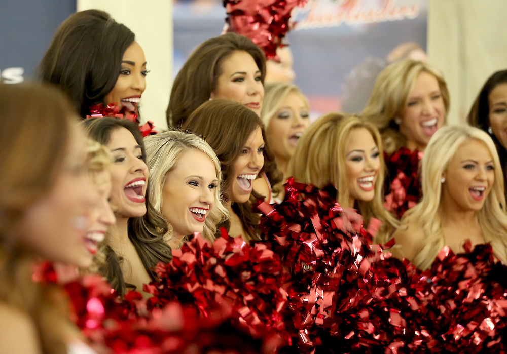 4/16/2014: The Houston Texans Cheerleading team poses for pictures and TV interviews. Fifty girls showed up on April 16, 2014 at the Houston Texans practice facility in Houston, Texas to see which 35 girls made the 2014-2015, Houston Texans Cheerleading Team.