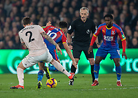 Football - 2018 / 2019 Premier League - Crystal Palace vs. Manchester United<br /> <br /> Victor Lindelof (Manchester United) pays close attention to Andros Townsend (Crystal Palace) to prevent him breaking away at Selhurst Park.<br /> <br /> COLORSPORT/DANIEL BEARHAM