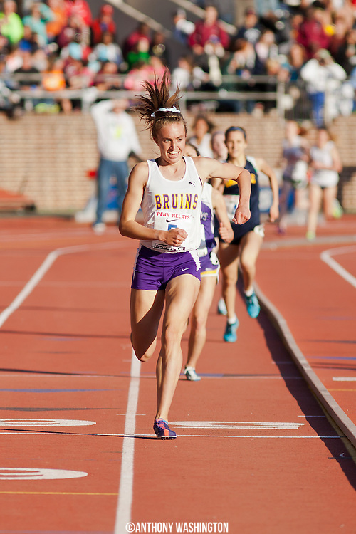 Sophie Chase of Lake Braddock Secondary School finishes first in the High School Girls' 3000m Championship at the 119th Penn Relays on Thursday, April 25, 2013 in Philadelphia, PA.