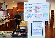A home-school schedule for the children of Shaun Alexander is posted in their home in Great Falls, VA, January 21, 2014.