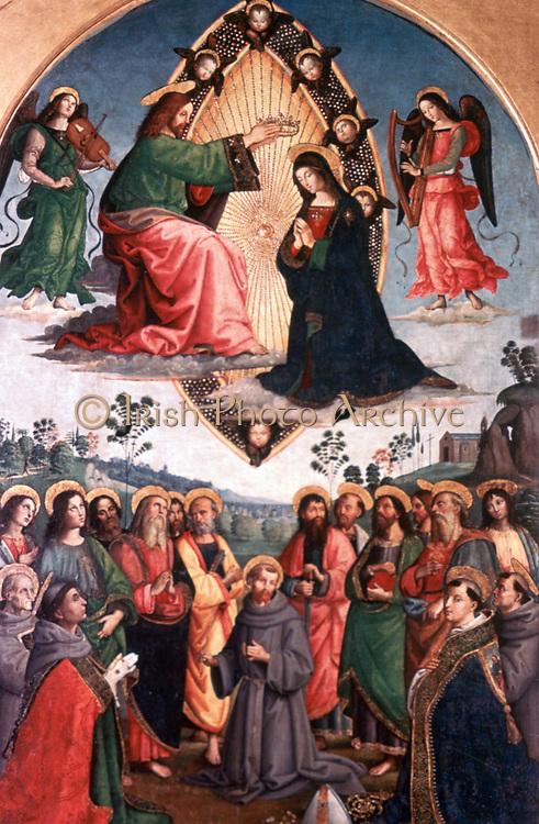 Coronation of the Virgin', 1495. Tempera and oil on wood. Pintoricchio (Bernadino di Betto 1454-1513) Italian Renaissance painter. Christ Heaven Cherubim Angel Music  Instrument Harp Viol(?) Saints