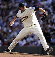 MINNEAPOLIS - SEPTEMBER 04:  Carl Pavano #48 of the Minnesota Twins pitches against the Texas Rangers on September 4, 2010 at Target Field in Minneapolis, Minnesota.  The Twins defeated the Rangers 12-4.  (Photo by Ron Vesely)