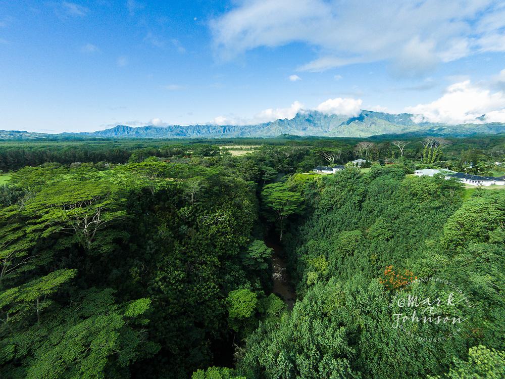 Aerial photograph of the North Fork of the Wailua River, Kauai, Hawaii