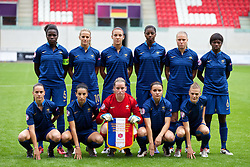 LLANELLI, WALES - Wednesday, August 28, 2013: France's players line up for a team group photograph before the Semi-Final match against Germany of the UEFA Women's Under-19 Championship Wales 2013 tournament at Parc y Scarlets. Back row L-R: Griedge M'Bock Bathy, Sandie Toletti, Kadidiatou Diani, Aissatou Tounkara, Lea Declercq, Aminata Diallo. Front row L-R: Faustine Robert, Ghoutia Karchouni, goalkeeper Solene Durand, Aurelie Gagnet, Charlene Gorce. (Pic by David Rawcliffe/Propaganda)