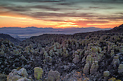 Sunset over the rhyolite formations at Chircahua National Monument, with the Sulphur Springs valley and Dragoon mountains in the background.