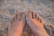 South Africa, Eastern Cape, Kaysers Beach, Sandy toes on the beach. <br />