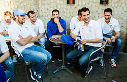 Anze Kopitar of Slovenia, Tomaz Razingar of Slovenia, Ziga Pance of Slovenia, Marcel Rodman of Slovenia, Ziga Pavlin of Slovenia of Slovenian Ice Hockey National Team at meeting with their supporters at day off during 2015 IIHF World Championship, on May 9, 2015 in Restaurant Zadni Vratka, Stodolni Street, Ostrava, Czech Republic. Photo by Vid Ponikvar / Sportida
