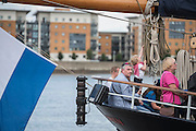 The Wylde Swan. Royal Greenwich Tall Ships Festival with a fleet of square rigged ships moored on the Thames at Greenwich and Woolwich. The fleet includes two of the biggest Class A Tall Ships - the Dar Mlodziezy and Santa Maria Manuela - which are moored on Tall Ships Island in the river off Greenwich. Tall Ships Festival Day on Saturday 29 August featured free family entertainment and the chance to enjoy a taste of life on the high seas.