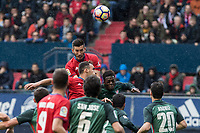 David Garcia of Club Atletico Osasuna competes for the ball with Inaki Williams of Athletic Club during the match of  La Liga between Club Atletico Osasuna and Athletic Club Bilbao at El Sadar Stadium  in Pamplona, Spain. April 01, 2017. (ALTERPHOTOS / Rodrigo Jimenez)