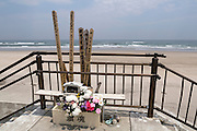 Prayers for the people who died in the tsunami, Toyoma Beach in Iwaki, Fukushima Prefecture.