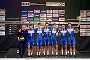 Podium winners Kasper Asgreen (BEL - QuickStep - Floors) - Laurens De Plus (BEL - QuickStep - Floors) - Bob Jungels (LUX - QuickStep - Floors) - Yves Lampaert (BEL - QuickStep - Floors) - Maximilian Schachmann (GER - QuickStep - Floors) - Niki Terpstra (NED - QuickStep - Floors) during the 2018 UCI Road World Championships, Men's Team Time Trial cycling race on September 23, 2018 in Innsbruck, Austria - Photo Luca Bettini / BettiniPhoto / ProSportsImages / DPPI