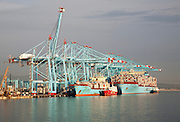 Large cranes at APM Terminals loading container ships port at Algeciras, Cadiz Province, Spain