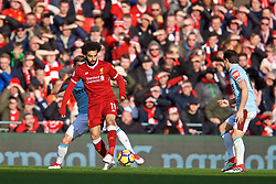 LIVERPOOL, ENGLAND - Saturday, February 24, 2018: Liverpool's Mohamed Salah during the FA Premier League match between Liverpool FC and West Ham United FC at Anfield. (Pic by David Rawcliffe/Propaganda)
