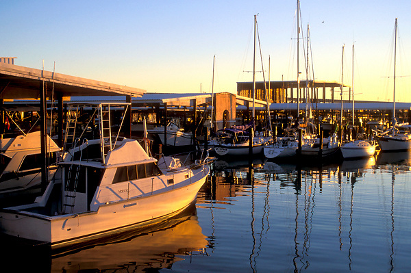 Stock photo of pleasure craft at the dock.