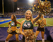 Sacramento State Hornets cheerleaders cheer during a timeout during the season opener against the San Jose State Spartans at San Jose State University's Spartan Stadium in San Jose, California, on August 29, 2013. (Stan Olszewski/ZUMA Press)