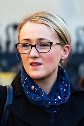 Labour's Rebecca Long-Bailey MP addresses Clean Up Outsourcing protesters from the UVW, IWGB, PCS and RMT unions as they demonstrate outside the High Court in London on a day of coordinated protest and strike actions, demanding an end to outsourcing of cleaning and security staff and a living wage for workers at the Ministry of Justice, Department for Business Energy and Industrial Strategy and the University of London, on the same day of a landmark legal action to extend the rights for 3 million workers. London, February 26 2019.