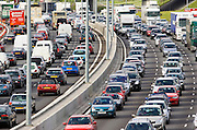 Traffic congestion at a standstill in both directions on M25 motorway, London, United Kingdom