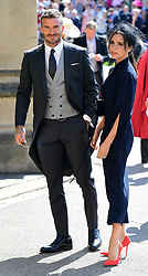 David and Victoria Beckham arrive at St George's Chapel at Windsor Castle for the wedding of Meghan Markle and Prince Harry.