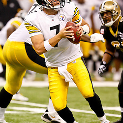 Oct 31, 2010; New Orleans, LA, USA; Pittsburgh Steelers quarterback Ben Roethlisberger (7) during a game against the New Orleans Saints at the Louisiana Superdome. The Saints defeated the Steelers 20-10.  Mandatory Credit: Derick E. Hingle