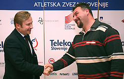 President of AZS dr. Peter Kukovica and Vladimir Kevo (coach of Primoz Kozmus) when Athletic Federation of Slovenia (AZS) and top Slovenian athletes sign a contract of sponsorship, on February 14, 2008 in M-Hotel, Ljubljana, Slovenia. (Photo by Vid Ponikvar / Sportal Images)