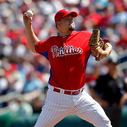 February 27, 2011; Clearwater, FL, USA; Philadelphia Phillies starting pitcher Joe Blanton (56) during a spring training exhibition game against the New York Yankees at  Bright House Networks Field. Mandatory Credit: Derick E. Hingle