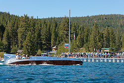 """""""The Hornet II on Lake Tahoe"""" - Photograph of the Hornet II, a classic wood and aluminum Gar Wood special racing boat from the 2011 Tahoe Concours d'Elegance."""