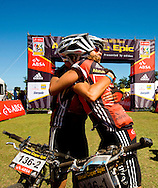 Oak Valley ( Elgin / Grabouw ), SOUTH AFRICA - Overall ladies winners, Sharon Laws and Hanlie Booyens celebrate their final win at the finish of the  the final stage stage seven , 7 , of the Absa Cape Epic Mountain Bike Stage Race between Oak Valley ( Elgin / Grabouw ) and Lourensford on the 28 March 2009 in the Western Cape, South Africa..Photo by Karin Schermbrucker  /SPORTZPICS
