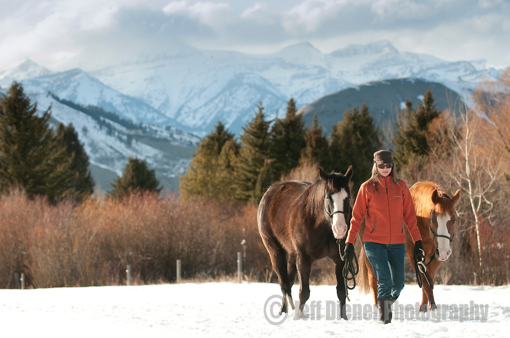 A young woman walks her horses through a snowy pasture in Jackson Hole, Wyoming.