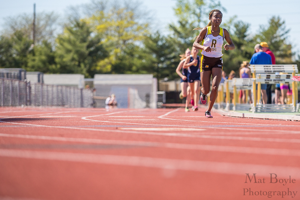 Rowan University freshman Onyi Obelle competes in women's 10,000 meters at the NJAC Track and Field Championships at Richard Wacker Stadium on the campus of  Rowan University  in Glassboro, NJ on Saturday May 4, 2013. (photo / Mat Boyle)