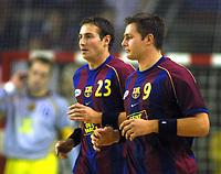 Håndball, 26. oktober 2002. Spanske eliteserie, Barcelona - Galdar 32-25. Glenn Solberg og Frode Hagen