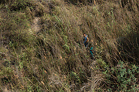 Central American immigrants who entered the U.S. illegally hide in the brush from border patrol helicopter in a remote area of South Texas, along the U.S.-Mexico border, on February 2, 2017 (Photo/Scott Dalton)