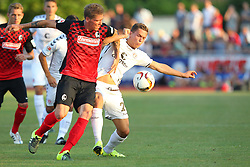 14.07.2015, Zeppelinstadion, Friedrichshafen, GER, Testspiel, FC St. Pauli vs SC Freiburg, im Bild Mike Frantz ( SC Freiburg ) rechts Sebastian Maier ( FC St.Pauli ) // during a preperation Football Match between FC St. Pauli vs SC Freiburg at the Zeppelinstadion in Friedrichshafen, Germany on 2015/07/14. EXPA Pictures © 2015, PhotoCredit: EXPA/ Eibner-Pressefoto/ Langer<br /> <br /> *****ATTENTION - OUT of GER*****