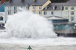 © London News Pictures. 12/01/2016. Aberystwyth, UK. <br /> Gale force winds and the 5m high tide at 9.15 am  combine to bring huge waves crashing over the seafront ion Aberystwyth on the Cardigan Bay coast in West Wales UK. Photo credit: Keith Morris/LNP