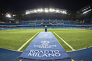 Empty stadium before the Champions League round of 16 match between Manchester City and Dynamo Kiev at the Etihad Stadium, Manchester, England on 15 March 2016. Photo by Simon Brady.