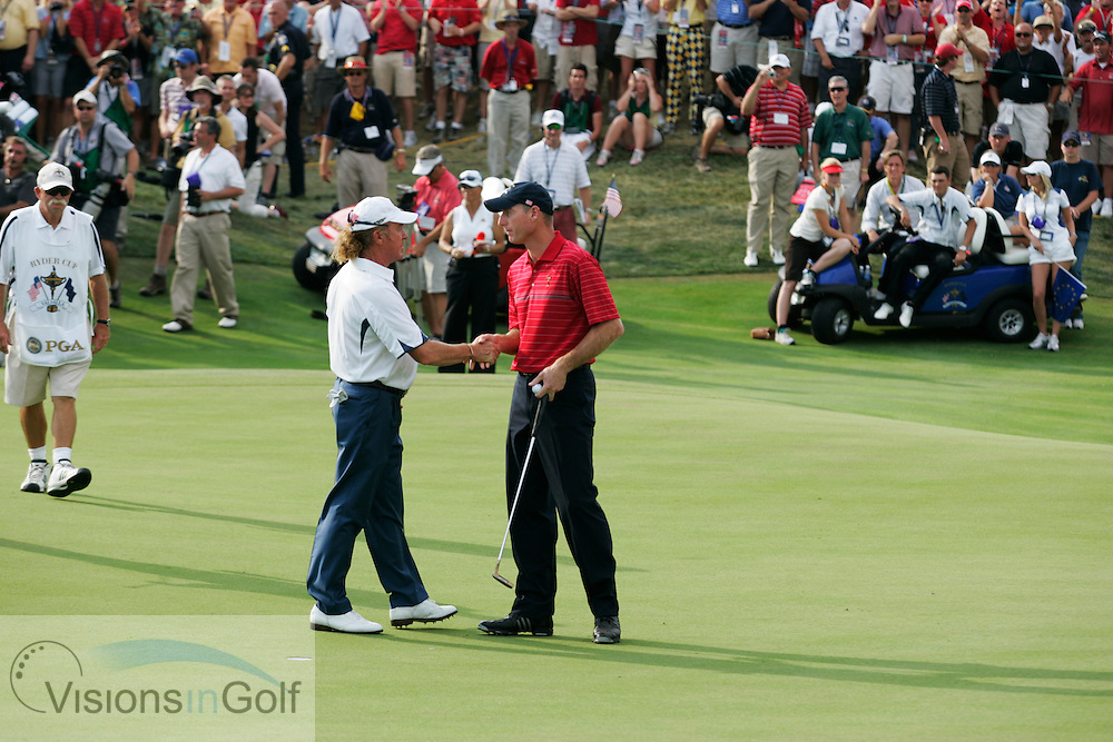 Jim Furyk wins the Ryder Cup for USA team on the 17th  on the last day of the 37th Ryder Cup Matches, 2008, Valhalla GC, Louisville, Kentucky.<br /> Picture Credit: Mark Newcombe / visionsingolf.com