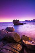 Bonsai Rock at sunset, Lake Tahoe, Nevada, USA