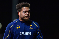 Ollie Lawrence of Worcester Warriors during the pre match warm up - Mandatory by-line: Craig Thomas/JMP - 02/02/2018 - RUGBY - Rodney Parade - Newport, Gwent, Wales - Dragons v Worcester Warriors - Anglo Welsh Cup