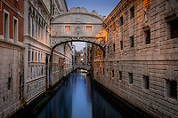 VENICE, ITALY - CIRCA MAY 2015: Bridge of Sighs at dusk in San Marco, Venice.