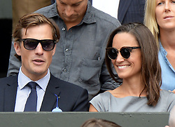 Image licensed to i-Images Picture Agency. 06/07/2014. London, United Kingdom. Pippa Middleton and Nico Jackson in the Royal Box  at the Wimbledon Men's Final.  Picture by Andrew Parsons / i-Images
