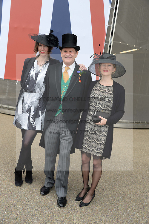 SIR JOHN MADEJSKI and his daughters, Left CAMILLA MORRIS and right HELEN MORRIS at Day 1 of the 2013 Royal Ascot Racing Festival at Ascot Racecourse, Ascot, Berkshire on 18th June 2013.