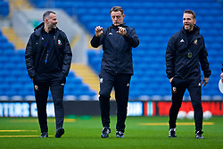 CARDIFF, WALES - Thursday, November 15, 2018: Wales' manager Ryan Giggs (L), goalkeeping coach Tony Roberts (C) and head of performance Tony Strudwick (R) during a training session at the Cardiff City Stadium ahead of the UEFA Nations League Group Stage League B Group 4 match between Wales and Denmark. (Pic by David Rawcliffe/Propaganda)