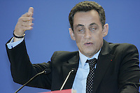 Nicholas Sarkozy, french candidate for  President, at a press conference presenting his program and book, Ensemble, at the Meridien Montparnasse, Paris..April 2, 2007....photograph by Owen Franken.