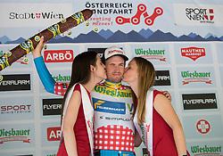 03.07.2017, Wien, AUT, Ö-Tour, Österreich Radrundfahrt 2017, 1. Etappe von Graz nach Wien (193,9 km), Siegerehrung, im Bild Stephan Rabitsch (AUT, Team Felbermayr Simplon Wels) im Bergtrikot // Stephan Rabitsch (AUT Team Felbermayr Simplon Wels) of Austria wearing the king of the mountaina jersey during winner ceremony for the 1st stage from Graz to Vienna (193,9 km) of 2017 Tour of Austria. Wien, Austria on 2017/07/03. EXPA Pictures © 2017, PhotoCredit: EXPA/ Reinhard Eisenbauer
