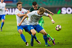 Benjamin Verbic of Slovenia, Tomas Hubocan of Slovakia during football match between National teams of Slovenia and Slovakia in Round #2 of FIFA World Cup Russia 2018 qualifications in Group F, on October 8, 2016 in SRC Stozice, Ljubljana, Slovenia. Photo by Ziga Zupan / Sportida