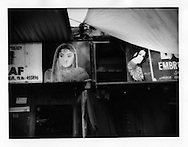 Signboards for women's clothing shops in the main bazaar of Srinagar, Indian Administered Kashmir.