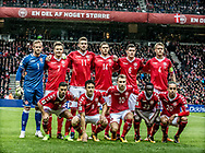 FOOTBALL: Players of Denmark line up before the World Cup 2018 UEFA Qualifier Group E match between Denmark and Romania at Parken Stadium on October 8, 2017 in Copenhagen, Denmark. Photo by: Claus Birch / ClausBirch.dk.